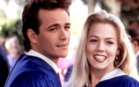 The main cast of BH90210 without Luke Perry reuniting