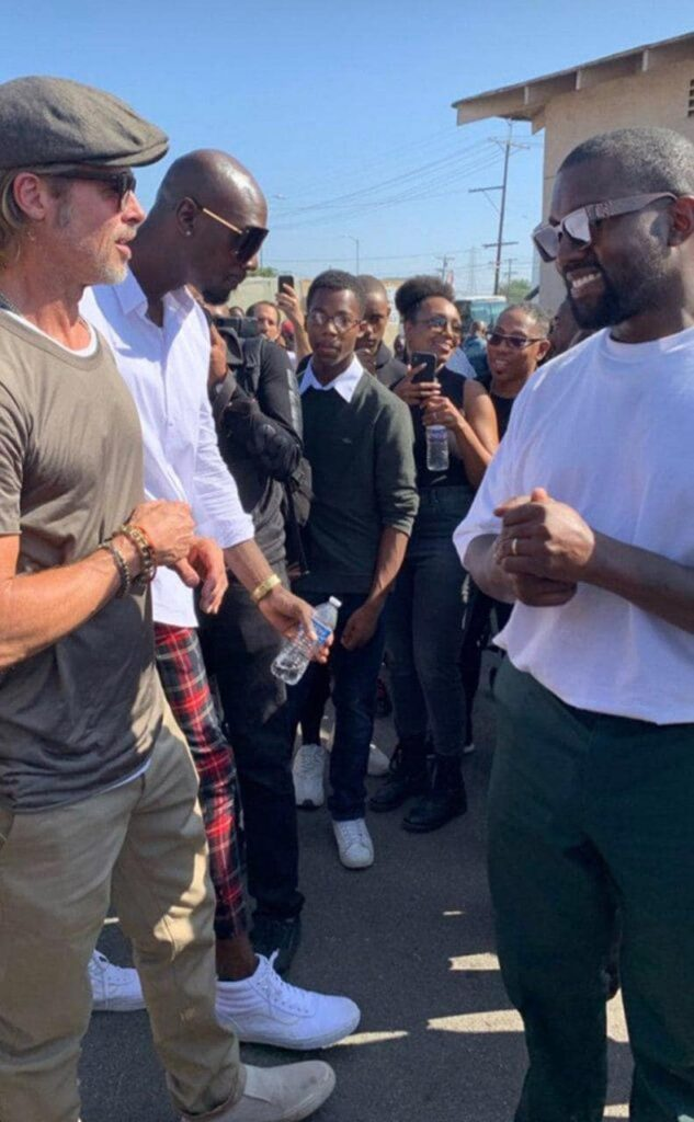 Brad Pitt joined Kanye West and his Sunday service with the Kardashians