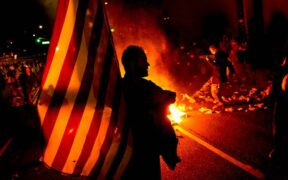 burning the American flag near a Los Angeles hotel
