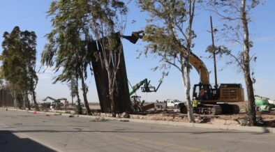 US Mexico Border Wall Falls because of High winds in California