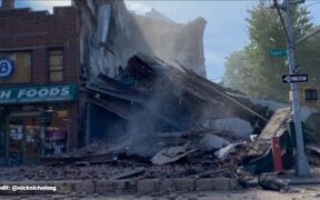 A 3 story building collapse in New York, Brooklyn.