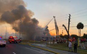 Crews were battling a 2-alarm fire in Hudson club, an Icon Gentlemen's Club