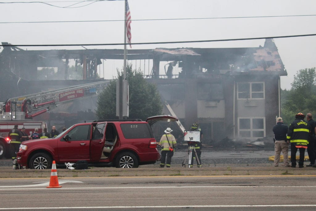 A three-Alarm fire in Hanover MA tears through Conway Country building.