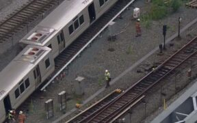 Montgomery metro train derailed outside of Silver Spring station.