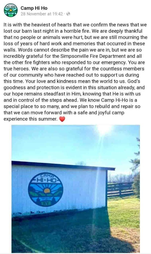 Jennifer Lawrence's Kentucky farm fire ruined her family summer camp on Friday.
