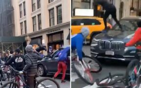 A Gang group of teen bicyclists have attacked New York BMW's driver wildly.
