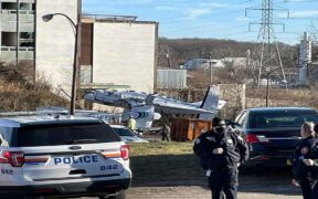 The old Bethpage plane crash nearly destroyed a building.