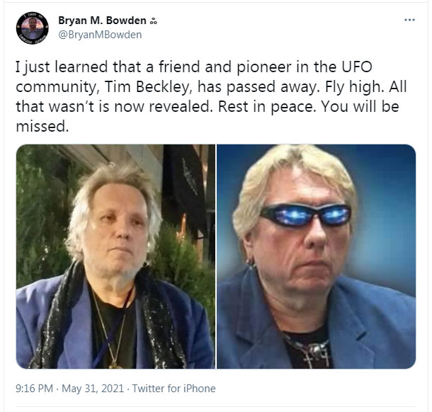 UFO pioneer and author, Timothy Beckley died