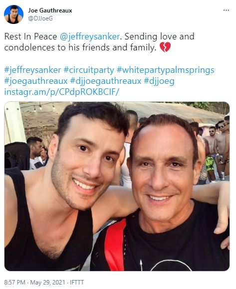 Jeffrey Sanker's cause of death was reported as his longtime illness