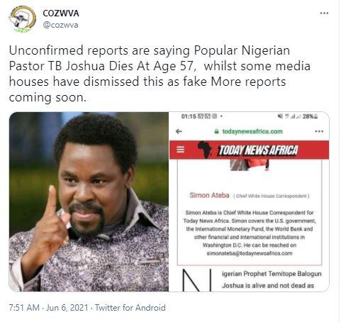 Prophet TB Joshua's cause of death has not been confirmed after the frontline televangelist passed away in Lagos