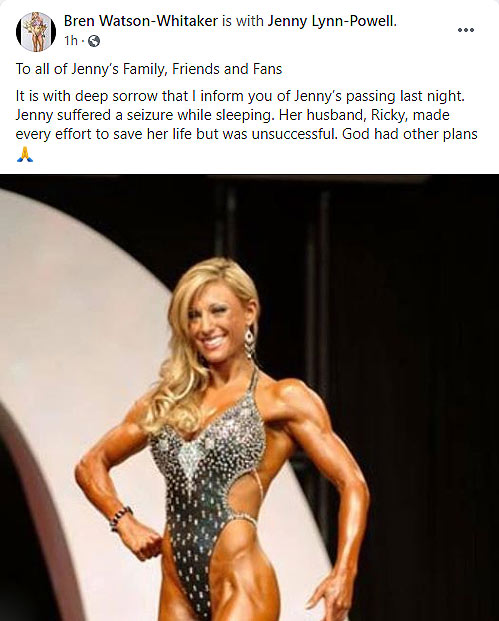 Jenny Lynn-Powell passed away while sleeping