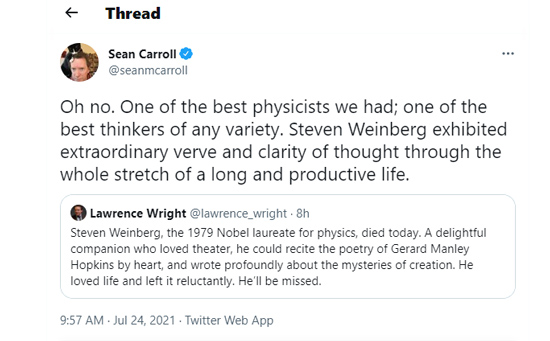 Physics Nobel Laureate, Steven Weinberg's Cause of Death